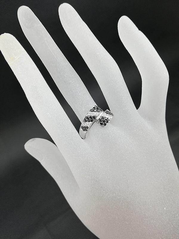 仕上げ済み!美品!K18WG ブラック×無色 ダイヤモンド リング 0.64ct _画像7