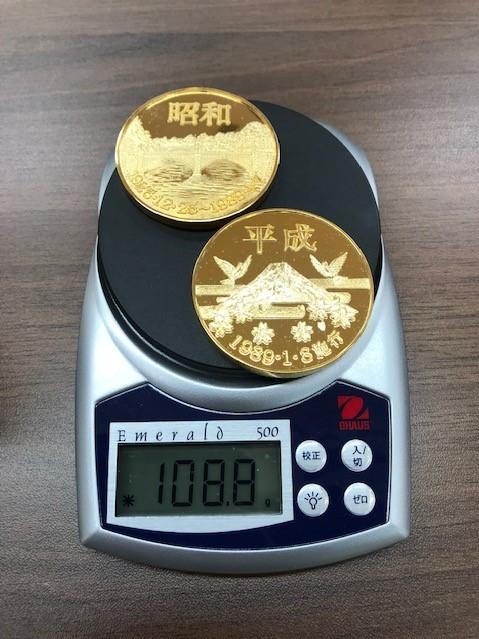 【6290】 元号記念プルーフ金貨 天皇陛下 24KGP 昭和 平成 コイン メダル 約108.8g_画像6