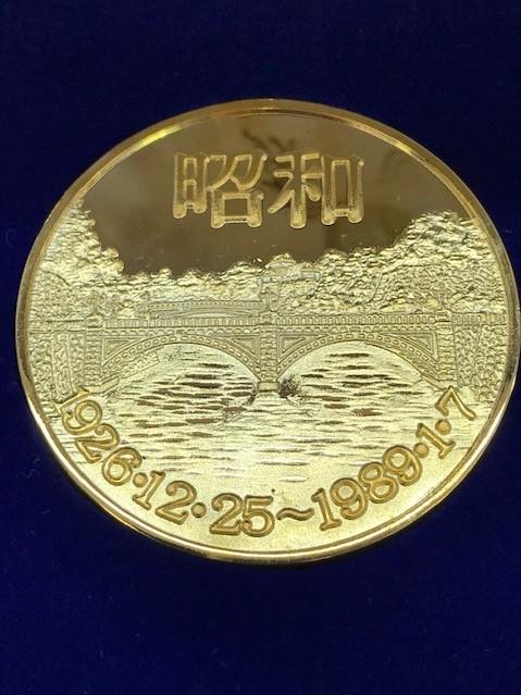 【6290】 元号記念プルーフ金貨 天皇陛下 24KGP 昭和 平成 コイン メダル 約108.8g_画像4