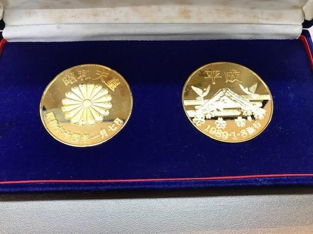 【6290】 元号記念プルーフ金貨 天皇陛下 24KGP 昭和 平成 コイン メダル 約108.8g_画像3