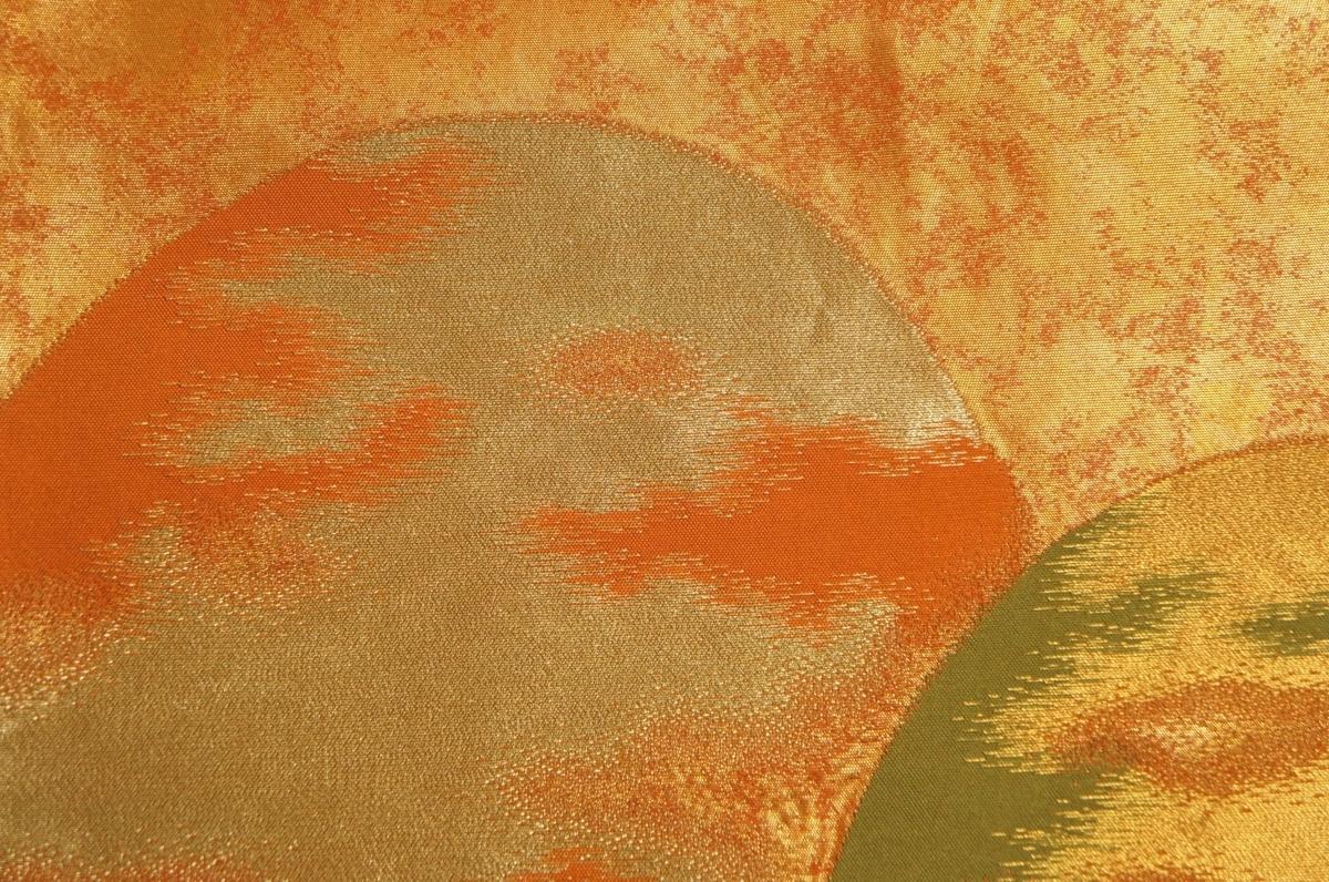 特選紫紘謹製丹色金ムラ箔地山並み模様袋帯[O10883]_特選紫紘謹製丹色金ムラ箔地山並み模様袋帯