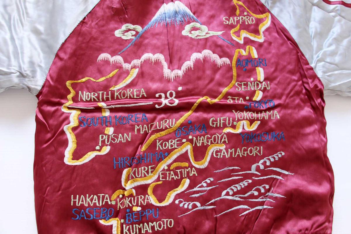 ★50s Japan刺繍 中綿入り サテン スカジャン★ビンテージ スーベニアジャケット タイガー ドラゴン 富士山 ジャパン スペシャル_画像9