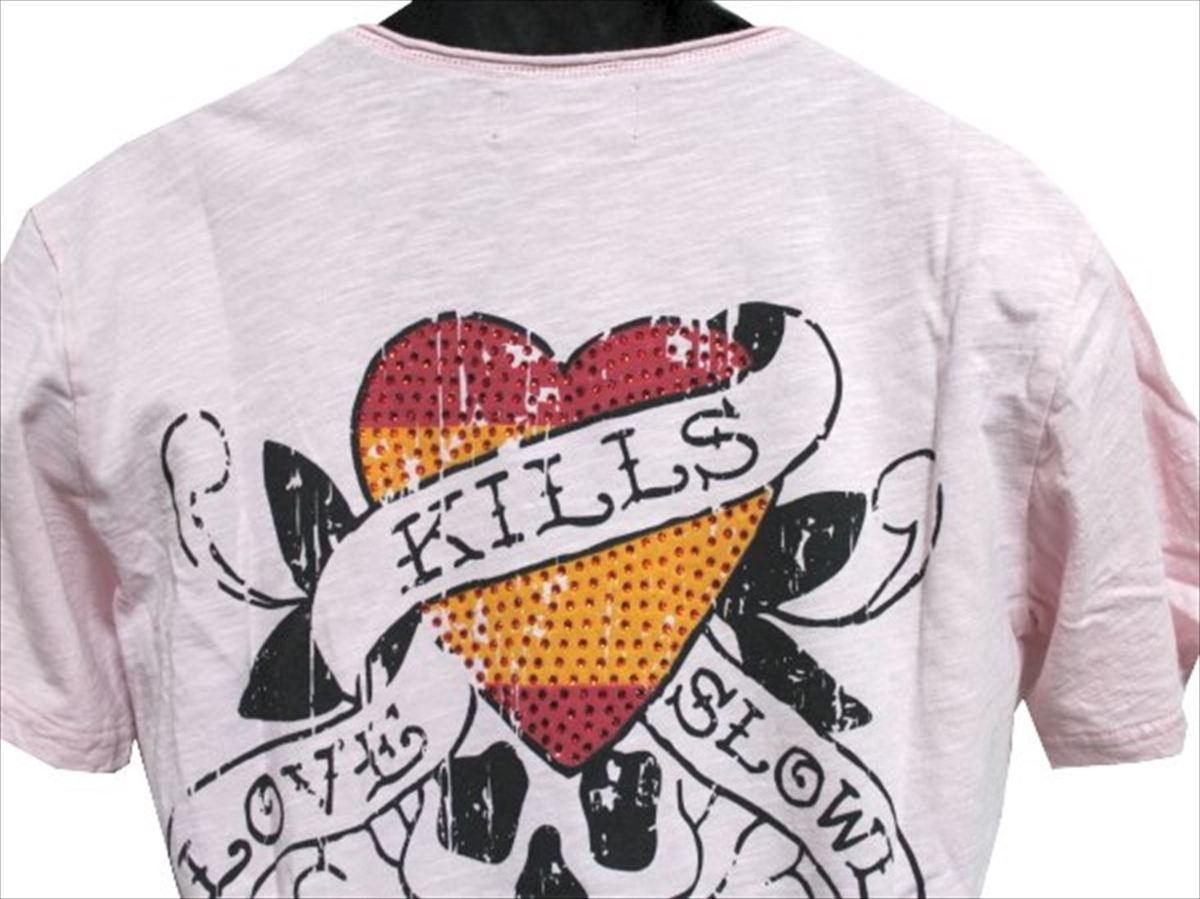 エドハーディー ED HARDY メンズ半袖Tシャツ ピンク Sサイズ SP052 新品_画像3