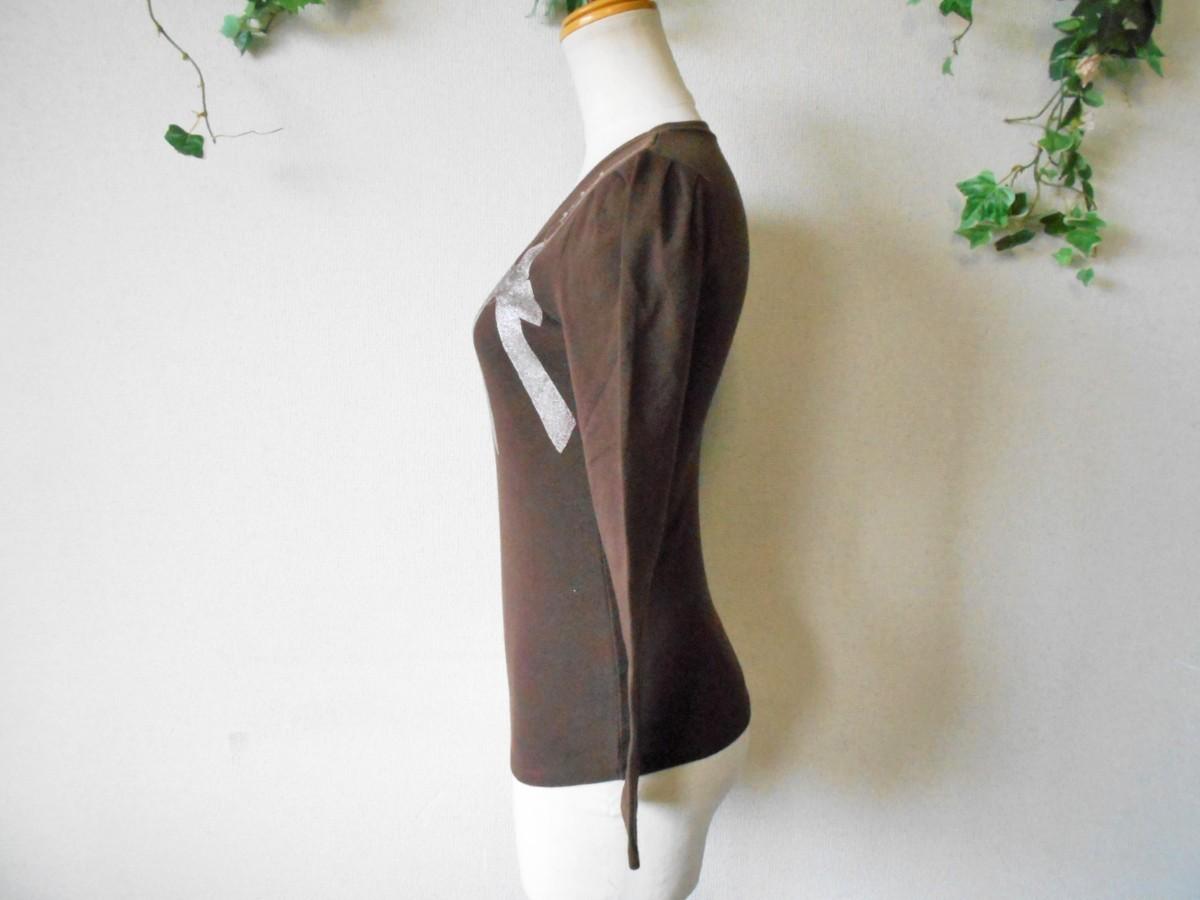 レストローズ LEST ROSE ライン ストーン 使用 リボン プリント の 可愛い 長袖 Tシャツ カットソー 2_画像5