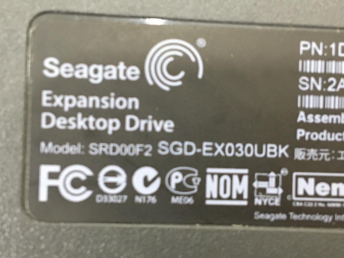 (使用時間781H) ELECOM Seagate 3TB 外付けハードディスク  SGD-EX030UBK 中古品_画像4