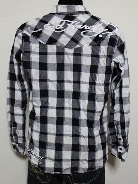 エドハーディー ED HARDY メンズ長袖チェックシャツ ネイビー Sサイズ 新品_画像3