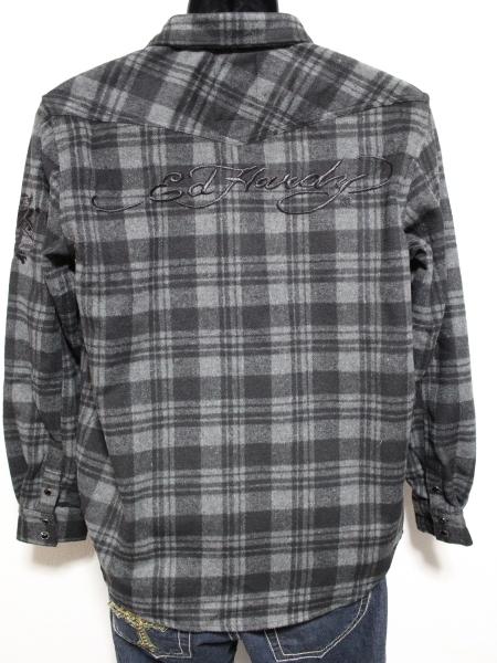 エドハーディー ED HARDY メンズネルチェックシャツ グレー Sサイズ 新品_画像3