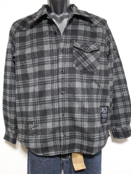 エドハーディー ED HARDY メンズネルチェックシャツ グレー Sサイズ 新品_画像1