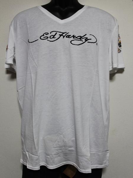 エドハーディー ED HARDY メンズ半袖Tシャツ ホワイト Lサイズ HB148 新品_画像1