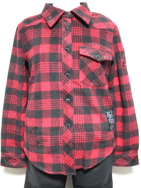 エドハーディー ED HARDY レディースフランネルチェックシャツ レッド Sサイズ 新品_画像1