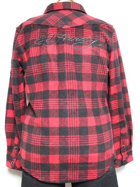 エドハーディー ED HARDY レディースフランネルチェックシャツ レッド Sサイズ 新品_画像3