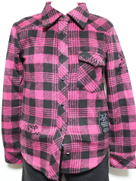 エドハーディー ED HARDY レディースフランネルチェックシャツ ピンク Sサイズ 新品_画像1