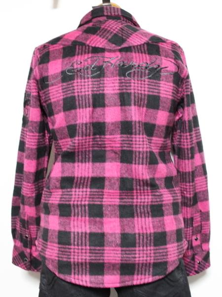 エドハーディー ED HARDY レディースフランネルチェックシャツ ピンク Sサイズ 新品_画像2