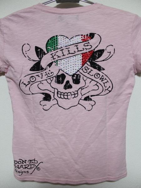 エドハーディー ED HARDY レディース半袖Tシャツ ピンク Sサイズ IT052 新品_画像2