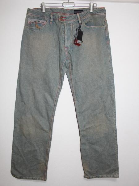 ライン LINE メンズデニムパンツ ブルー 34インチ ストレートジーンズ 新品_画像1