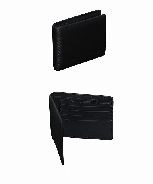 【メール便送料180円!!】 カーボンデザイン 二つ折り財布 カードケース キーケース 3点セット 牛革_画像2