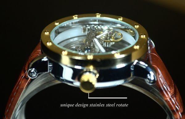 【送料無料】メンズ 腕時計 フルスケルトン TIEDAN 機械式上時計 自動巻 スケルトン ゴールド トゥールビヨン ブラウン 革 バンド■M0055_画像4