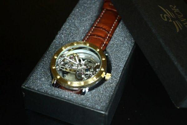 【送料無料】メンズ 腕時計 フルスケルトン TIEDAN 機械式上時計 自動巻 スケルトン ゴールド トゥールビヨン ブラウン 革 バンド■M0055_画像3