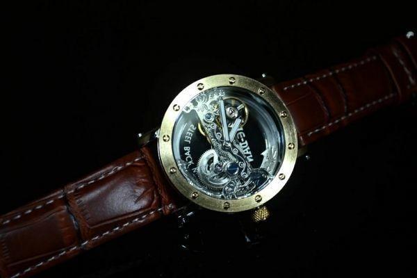 【送料無料】メンズ 腕時計 フルスケルトン TIEDAN 機械式上時計 自動巻 スケルトン ゴールド トゥールビヨン ブラウン 革 バンド■M0055_画像2
