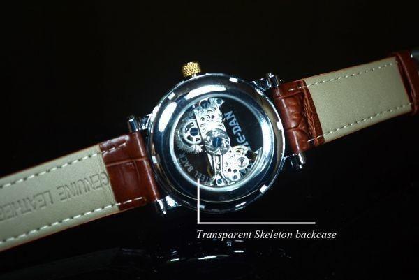 【送料無料】メンズ 腕時計 フルスケルトン TIEDAN 機械式上時計 自動巻 スケルトン ゴールド トゥールビヨン ブラウン 革 バンド■M0055_画像5