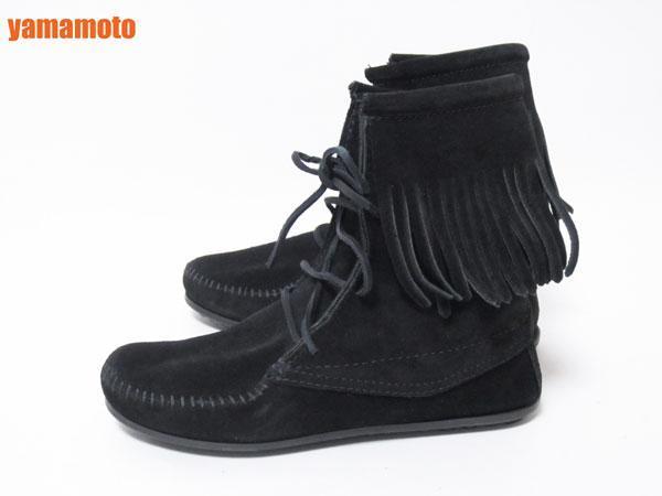 【美品】送料無料 MINNETONKA ミネトンカ フリンジ ショートブーツ ハーフブーツ レディース 靴 ブラック 6_画像2