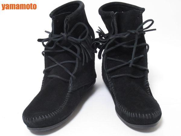 【美品】送料無料 MINNETONKA ミネトンカ フリンジ ショートブーツ ハーフブーツ レディース 靴 ブラック 6_画像4