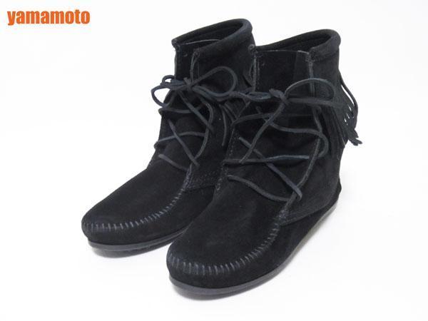 【美品】送料無料 MINNETONKA ミネトンカ フリンジ ショートブーツ ハーフブーツ レディース 靴 ブラック 6_画像1