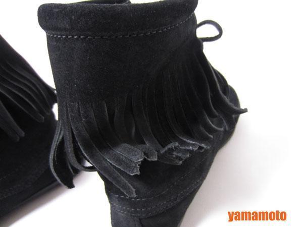 【美品】送料無料 MINNETONKA ミネトンカ フリンジ ショートブーツ ハーフブーツ レディース 靴 ブラック 6_画像6