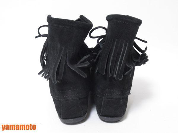 【美品】送料無料 MINNETONKA ミネトンカ フリンジ ショートブーツ ハーフブーツ レディース 靴 ブラック 6_画像3