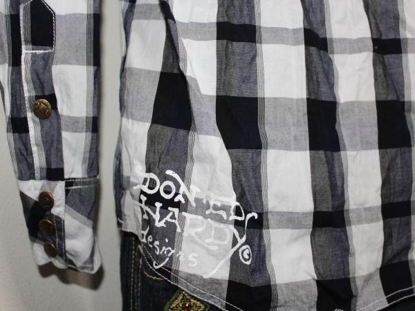 エドハーディー ED HARDY メンズ長袖チェックシャツ ネイビー Sサイズ 新品_画像5