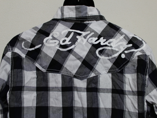 エドハーディー ED HARDY メンズ長袖チェックシャツ ネイビー Sサイズ 新品_画像4