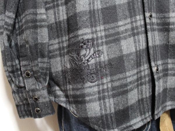 エドハーディー ED HARDY メンズネルチェックシャツ グレー Sサイズ 新品_画像2