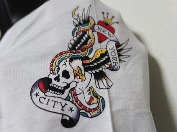 エドハーディー ED HARDY メンズ半袖Tシャツ ホワイト Lサイズ HB148 新品_画像3