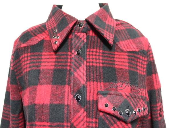 エドハーディー ED HARDY レディースフランネルチェックシャツ レッド Sサイズ 新品_画像2