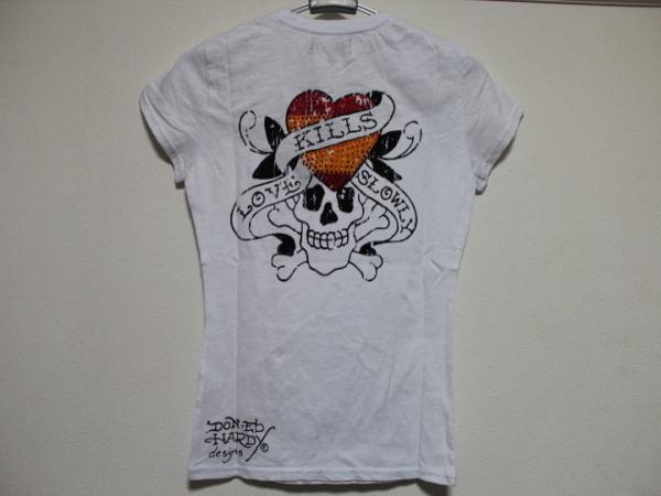 エドハーディー ED HARDY レディース半袖Tシャツ ホワイト Sサイズ SP052 新品_画像2