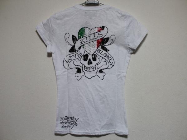 エドハーディー ED HARDY レディース半袖Tシャツ ホワイト Sサイズ IT052 新品_画像2