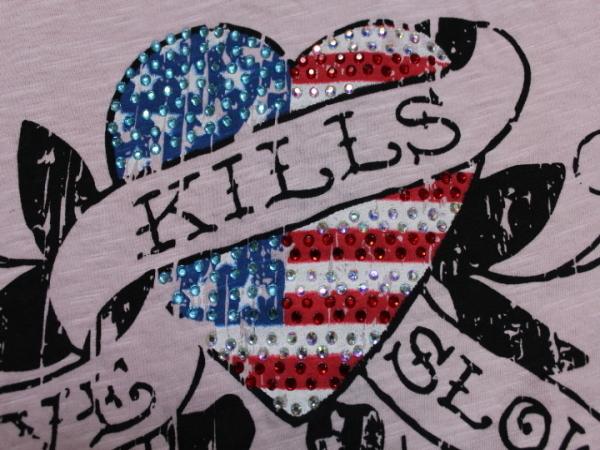 エドハーディー ED HARDY レディース半袖Tシャツ ピンク Sサイズ US052 新品_画像3