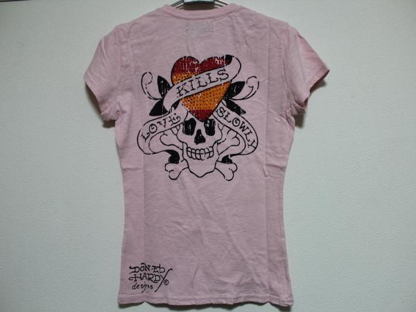 エドハーディー ED HARDY レディース半袖Tシャツ ピンクSサイズ SP052 新品_画像2