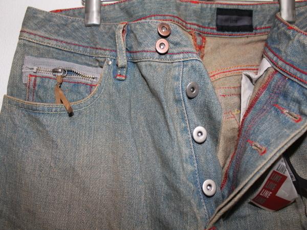 ライン LINE メンズデニムパンツ ブルー 34インチ ストレートジーンズ 新品_画像2