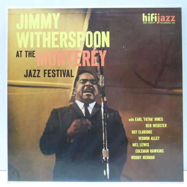 良好品!! MONO 深溝 USオリジナル JIMMY WITHERSPOON At The Monterey Jazz Festival (HiFi Jazz J421) Ben Webster, Coleman Hawkins ほか_画像1