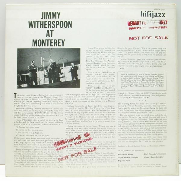 良好品!! MONO 深溝 USオリジナル JIMMY WITHERSPOON At The Monterey Jazz Festival (HiFi Jazz J421) Ben Webster, Coleman Hawkins ほか_画像2
