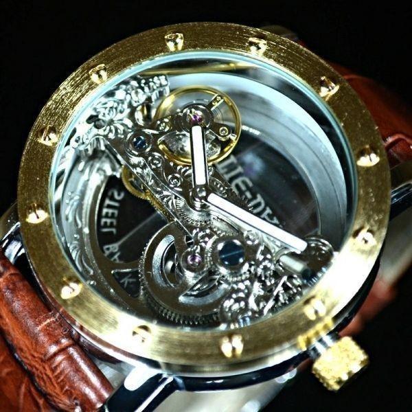 【送料無料】メンズ 腕時計 フルスケルトン TIEDAN 機械式上時計 自動巻 スケルトン ゴールド トゥールビヨン ブラウン 革 バンド■M0055_画像1