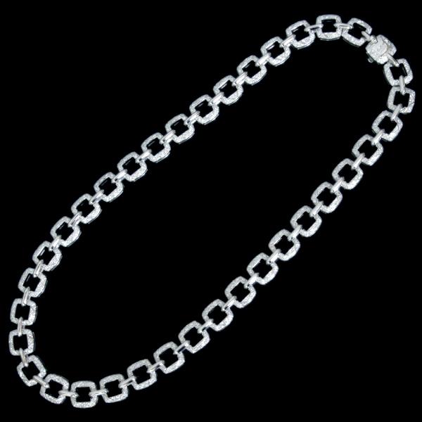 B8978【Asprey】アスプレイ 絶品全面ダイヤモンド 最高級18金無垢セレブリティネックレス 長さ41.5cm 重さ83.5g 幅9.7mm_画像3