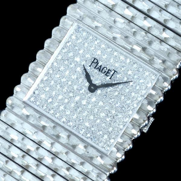 C4353【PIAGET】ピアジェ 最高級18KWG無垢 純正ダイヤモンド 紳士手巻 腕周り18.5cm 重さ208.0g ケース幅24.7mm_画像1