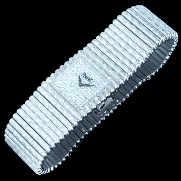 C4353【PIAGET】ピアジェ 最高級18KWG無垢 純正ダイヤモンド 紳士手巻 腕周り18.5cm 重さ208.0g ケース幅24.7mm_画像2
