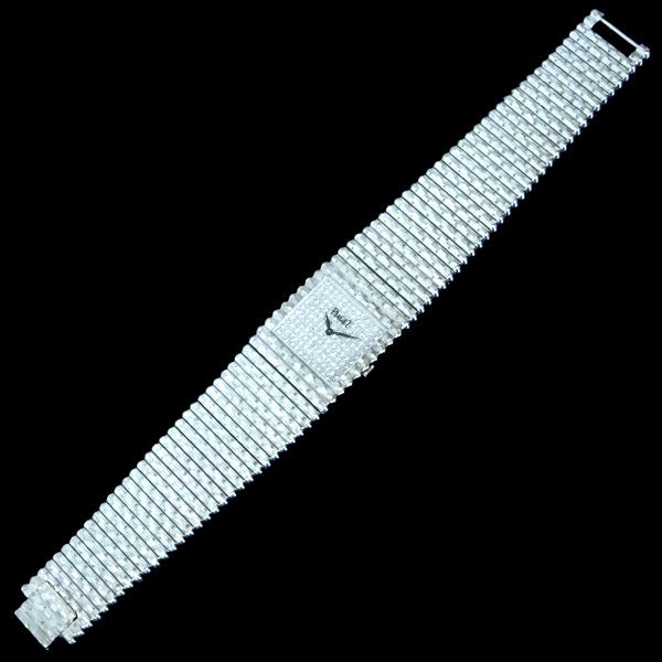C4353【PIAGET】ピアジェ 最高級18KWG無垢 純正ダイヤモンド 紳士手巻 腕周り18.5cm 重さ208.0g ケース幅24.7mm_画像3