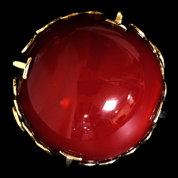 A8863 巨大血赤珊瑚21.1mm 最高級18Kリング_画像1