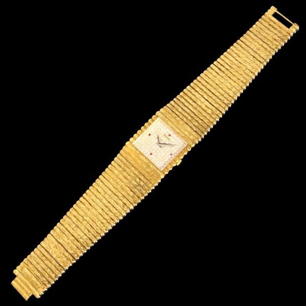 C7280【PIAGET】ピアジェ 純正ダイヤモンド/ルビー 最高級18金無垢 紳士手巻 腕周り18cm 重さ140.3g ケース幅24.0mm _画像4