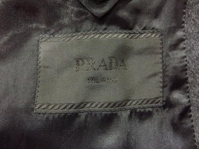 PRADA プラダ (PT8203) コレクション仕様 カシミヤ混ダブルブレストウールチェスターコート 灰 グレー GRAY 46R_画像4