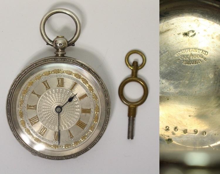銀製 小ぶりで豪華なネジ巻式懐中時計 レターパックプラス可 1228Q4r_画像1